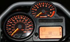 The Beemer�s panel is almost rudimentary next to the Ducati�s. However, at a glance, the GS� analog gauges require less brain processing power.