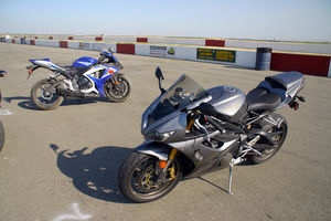 Like a lot of four-cylinder machines, the GSXR-1000 really comes with two motors. The first one is handy on the street, with all of Suzuki's tuning tricks