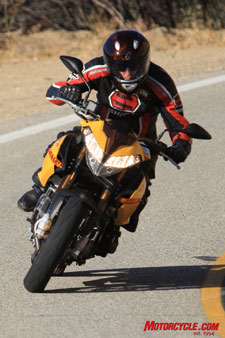 The TnT offered surprisingly lighter initial steering effort than the Ducati.