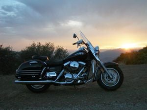 The Kawasaki Nomad at sunset atop Highway 33 can be a beautiful thing!