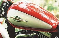 Marauder fuel tank comes complete with distinctive logo and cool racing-style filler.