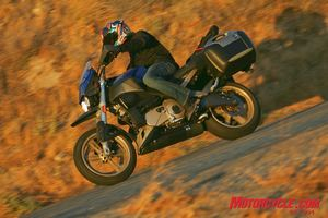 Alex Edge joined us once again to flog a bunch of someone else's bikes. Of the Buell, he felt it had sharp turn-in and responsive, sporty handling