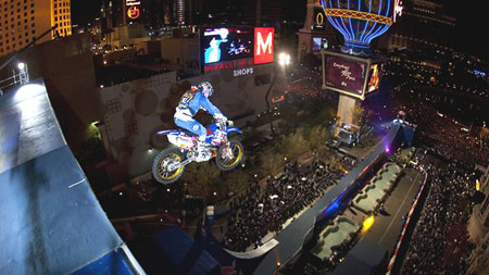 Robbie Maddison completed his New Year's Eve jump on a Yamaha.