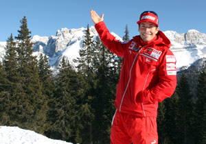 After meeting with the press, Nicky Hayden had a chance to hit the slopes of the Dolomites in Italy.