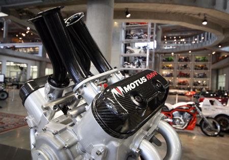 The Motus KMV4 engine was shown at the Barber Motorsports Museum in Alabama.