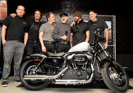 Willie G. Davidson (with the mic) and the Harley-Davidson Design team of Casey Ketterhagen, Frank Savage, Ray Drea, Rich Christoph and Paul Martin, stand with the Forty-Eight at its media preview at the Ace Hotel in New York City.