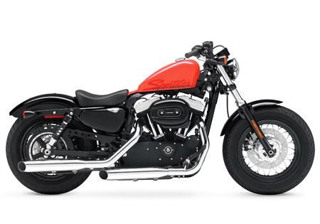 The 2010 Harley-Davidson 48 is the newest Dark Custom model, following the Nightster, Iron 883, Cross Bones, Fat Bob and Street Bob.