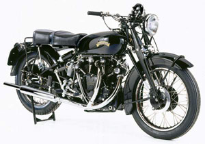 The 1953 Vincent Black Shadow is powered by a 998cc overhead valve dry sump V-Twin.