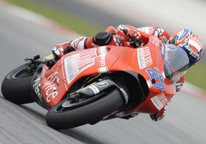 Though he is still less than 100%, Casey Stoner recorded the second fastest time in the first day of testing.