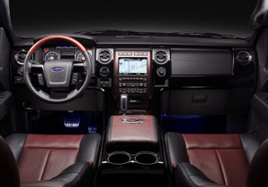 The truck's interior was designed with a prominent Harley-Davidson theme.