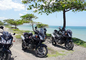 MotoCaribe has a fleet of Suzuki V-Strom DL650 motorcycles for touring the Dominican Republic.