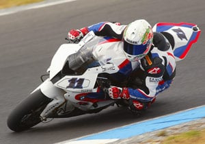 Troy Corser's day ended early after he hit a bird while riding over 140 mph.