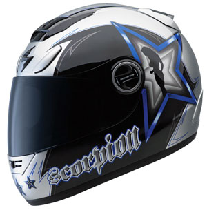 The Scorpion EXO-700 Hollywood helmet is available with blue, red or black graphics.