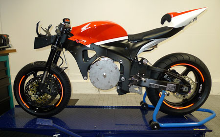 SERT is converting a formerly World Supersport-spec Honda CBR600RR to run on an electric motor.