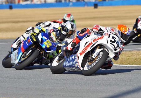 Jake Zemke won both races to sweep the Daytona round of the AMA American Superbike Championship for the Michael Jordan-owned National Guard Suzuki team.