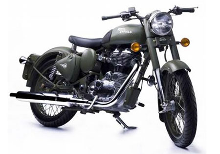 The Royal Enfield Bullet line, including this C5 Military model, are now CARB-approved and ready for sale in California.