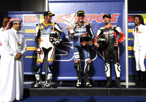 Ben Spies (center) won the Superpole while Jakub Smrz (left) will start second and Max Biaggi third.