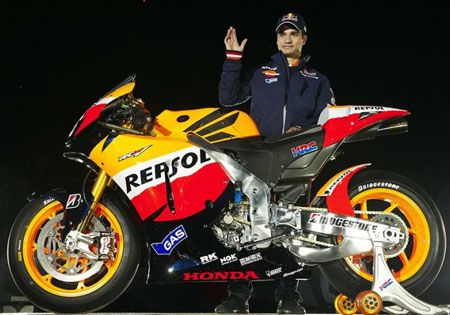 Dani Pedrosa missed last year's launch due to injury. For the 2010 launch, it was Andrea Dovizioso's turn to be absent.