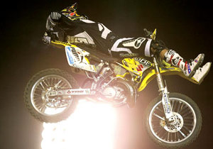 Travis Pastrana performing a Lazyboy at the 2003 X Games.