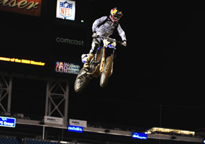 James Stewart soars to victory in the first AMA Supercross race held in Jacksonville.