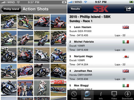 The SBK 2010 app is now available at the App Store.