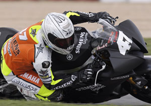Spanish CEV Supersport Champion Angel Rodriguez tests the R6-powered LaGlisse Moto2 bike.