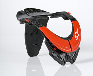 Alpinestars' new Bionic Neck Support distributes pressure to reduce the risk of neck injury.