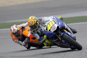 Dani Pedrosa stayed within half a second behind Valentino Rossi for nearly the entire race.