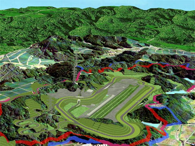 An artist's rendering of Yamaha's Kikugawa Test Course.