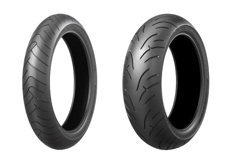 The Bridgestone BT-023 Sport Touring front and rear tires. A special GT spec front tire is also available for heavier motorcycles.
