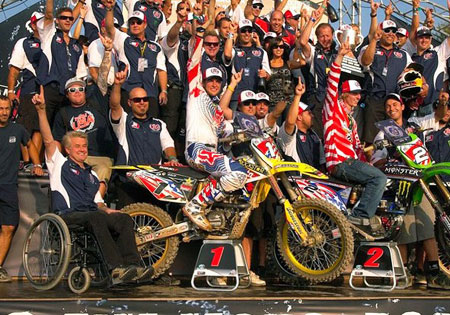 Mitch Payton (in the wheelchair) at the Motocross of Nations.