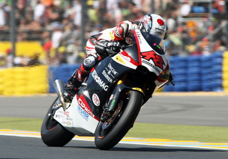 Shoya Tomizawa of the Technomag-CIP team is currently second in the Moto2 standings on a Suter-designed motorcycle.