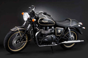 The gold trim on the Belstaff-designed Triumph Bonneville accents the bike's shape.