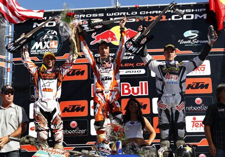 From left to right: Mike Alessi, Antonio Cairoli and Clement Desalle made the podium at the USGP. Photo by Archer R.