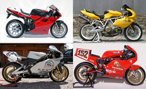 Clockwise from to left: the Grand Prize-winning Ducati 748, the People's Choice winning 900SS, a 1986 750 F1, and a 1993 Supermono.