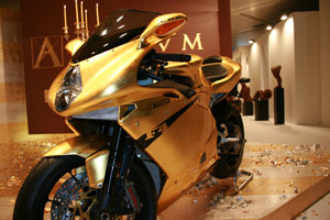 A gold MV Agusta F4 RR 312 for a man with the Midas touch.