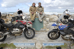 Charley Boorman (left) and Ewan McGregor traveled to the tip of South Africa where the Indian and Atlantic oceans meet.
