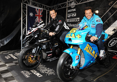 Rizla Suzuki's Loris Capirossi rode a lap of the Mountain Course on a Suzuki GSX-R1000. Relentless Suzuki racer Cameron Donald took Capirossi's Suzuki GSV-R MotoGP bike for a spin, reaching a record top speed of 202 mph on the Sulby straight section.