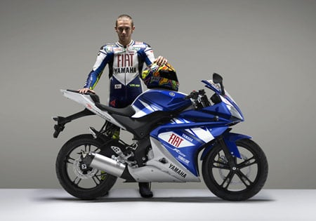 Unfortunately, the Rossi-replica Yamaha YZF-R125 is not available in the U.S.