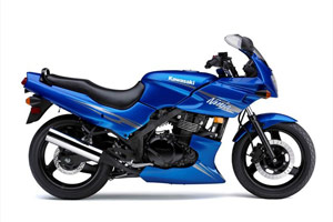 The 2009 Ninja 500R is available in 'Candy Plasma Blue'.