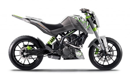 "The ""Stunt"" version of KTM's 125 Project. Don't be surprised if KTM has a few other variations planned."