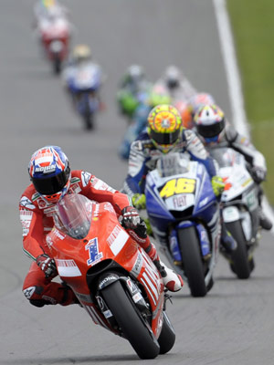 Casey Stoner was back at the head of the pack at the British Grand Prix.