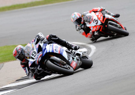 Ben Spies (left) has ten wins on the season while Max Biaggi had his best result of the season in Race 1.
