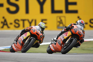 Red Bull KTM 250 rider Mika Kallio (right) is the current leader of the quarter-liter Grand Prix class.