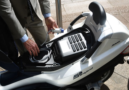 The lithium ion battery pack is located under the seat.