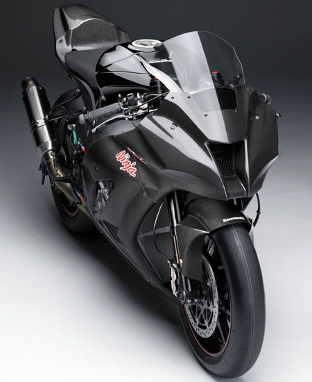 The 2011 Kawasaki Ninja ZX-10R in all its unpainted, mirrorless, turn-signal lacking, carbon fiber glory.