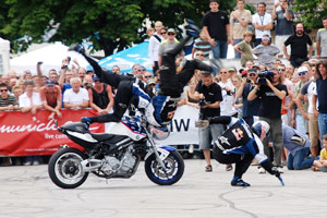 Chris Pfeiffer demonstrated some of the skills that won him the 2008 Streetbike Freestyle World Championship.