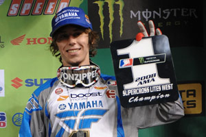 Jason Lawrence, in happier times, celebrates his 2008 AMA Supercross Lites West Region Championship.