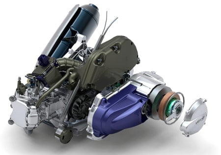 The Piaggio MP3 Hybrid is powered by a 124cc four-stroke engine and a reversible electric motor.