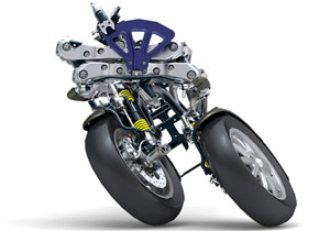 The Piaggio MP3 Hybrid uses the same tilting quadrilateral suspension as the regular model.